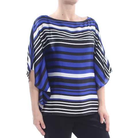 RALPH LAUREN Womens Black Poncho Sleeves Striped Top Size: S