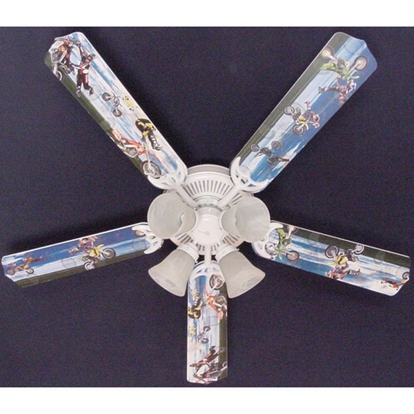X-Games Motor cross Print Blades 52in Ceiling Fan Light Kit - Multi
