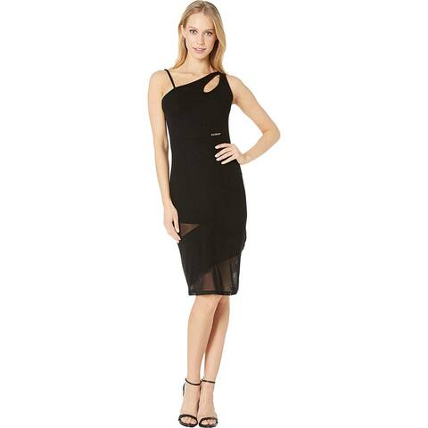 Bebe Women's One Shoulder Keyhole Mesh Mixed Dress, Black, Medium