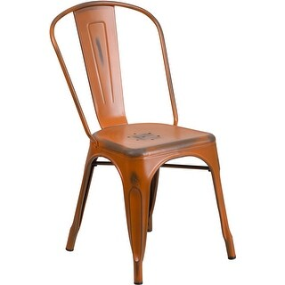 Brimmes Distressed Orange Metal Stackable Chair for Patio/Bar/Restaurant