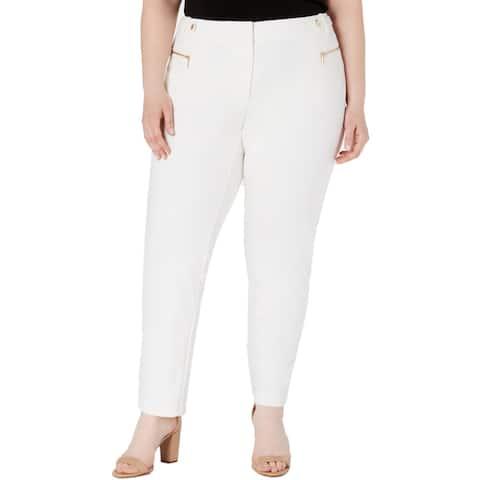 Calvin Klein Womens Plus Straight Leg Pants Mid-Rise Crepe