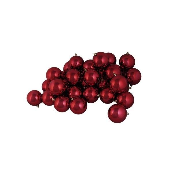 "12ct Shatterproof Shiny Burgundy Red Christmas Ball Ornaments 4"" (100mm)"