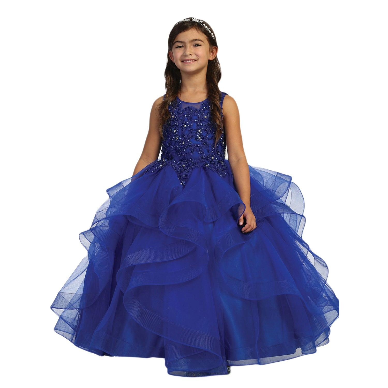 Royal Blue Illusion Neckline Lace Applique Trim Layered Pageant Dress Big Girls Overstock 31060429