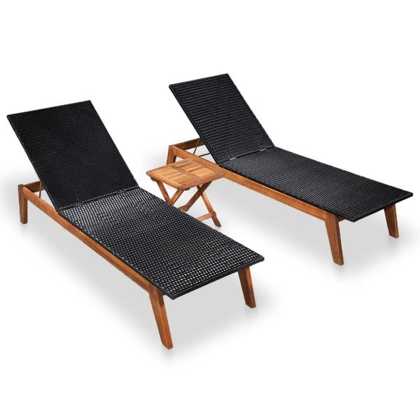 Shop Vidaxl Sun Loungers 2 Pcs With Table Poly Rattan And