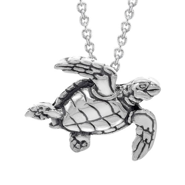 Kabana Small Sea Turtle Pendant in Sterling Silver - White