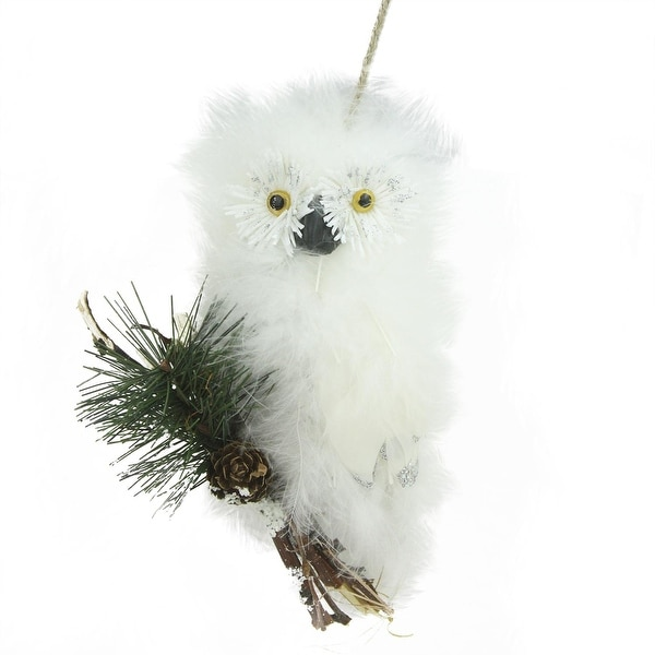 "5.5"" In the Birches Decorative Snow White Feathered Owl Christmas Ornament"