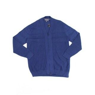 Alfani NEW Navy Blue Mens Size XLT Tall Full Zip Mixed Stitch Sweater