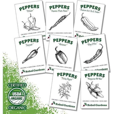 Hot Pepper Seeds - Organic Heirloom Chili Seed Variety Pack for Planting - Cayenne, Jalapeno, Habanero, Poblano, and... - Set