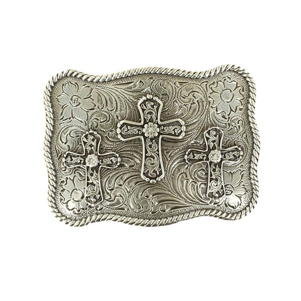 Nocona Western Belt Buckle Womens Three Cross Silver - 3 3/4 x 2 3/4
