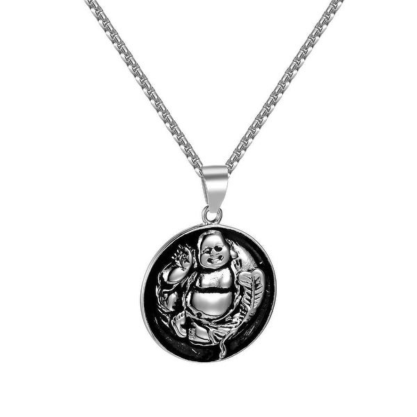 Laughing Buddha Pendant Stainless Steel Box Necklace Charm Buddhism