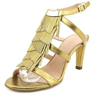 Chloe Amburgo Women Open Toe Leather Gold Sandals