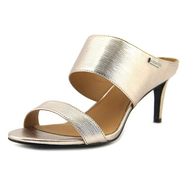 203a6c483156 Shop Calvin Klein Cecily Women Open Toe Leather Gold Sandals - Free ...
