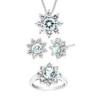 5 3/4 ct Natural Aquamarine & Created White Sapphire Flower Pendant, Ring & Earring Set in Sterling Silver - Blue