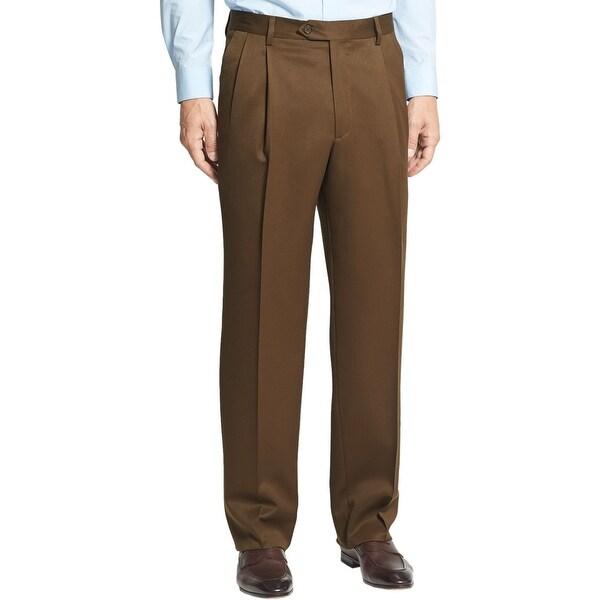 Berle Mens Super 100's Wool Gabardine Pleated Front Dress Pants 30 Waist Brown