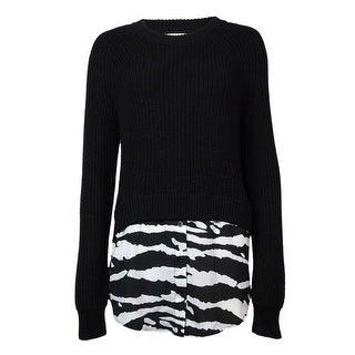Michael Kors Women's Zebra Print Hem Long Sleeve Sweater