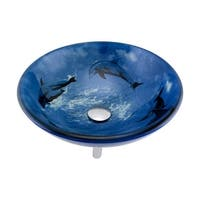 Renovator's Supply Tempered Glass Vessel Sink with Drain, Dolphin Design Blue Bowl Sink