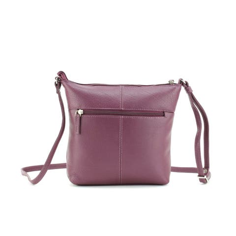 Leather Crossbody bag with Cell Phone Pocket Plum