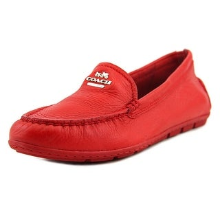 Coach Mary Lock Up Women Round Toe Leather Red Flats