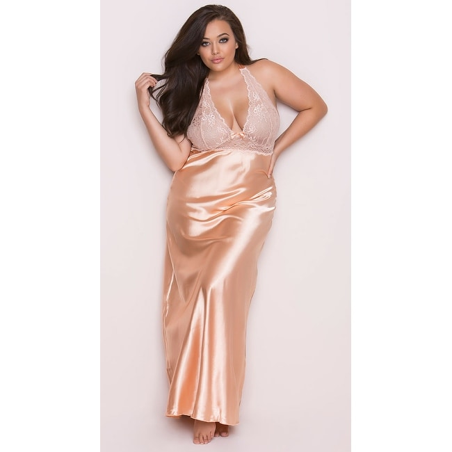 Plus Size Peaches and Cream Long Gown Plus Size Satin and Lace Gown - Peach