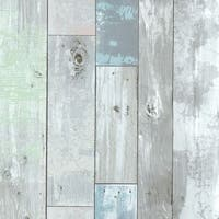 Brewster 2532-20416 Dean Blue Distressed Wood Panel Wallpaper