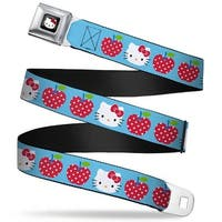Hello Kitty W Red Bow Full Color Black Hello Kitty Face Polka Dot Apples Seatbelt Belt