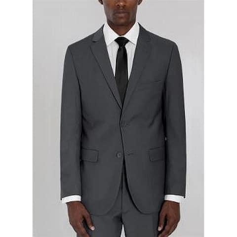 Vittorio St. Angelo Mens Blazer Jacket Gray Size 50L 2 Button Slim-Fit