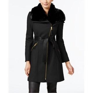 Via Spiga Faux-Fur-Collar Asymmetrical in Black Size 16