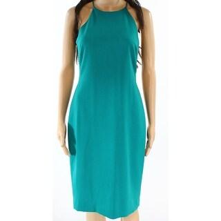 Badgley Mischka NEW Jade Green Womens Size 4 Halter Sheath Dress