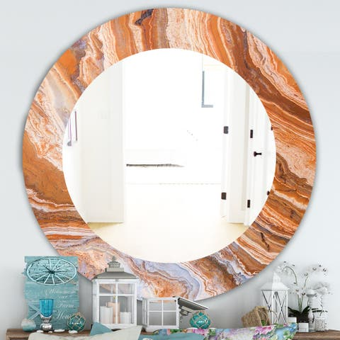 Designart 'Marbled Geode 2' Traditional Mirror - Oval or Round Wall Mirror