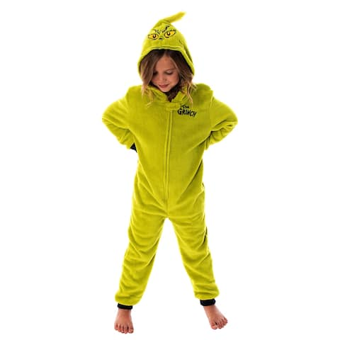 Dr. Seuss Kids The Grinch Hooded Union Suit Sleeper Pajamas