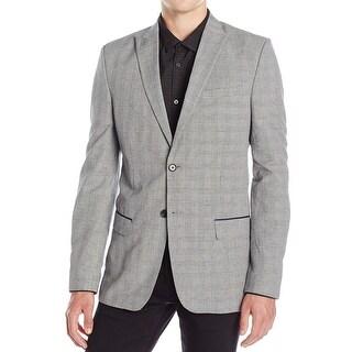 Calvin Klein NEW Black Mens Size XL Slim Fit Plaid Two Button Blazer