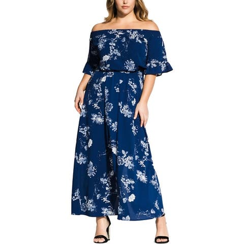 City Chic Womens Plus Maxi Dress Floral Smocked - Sapphire Garden