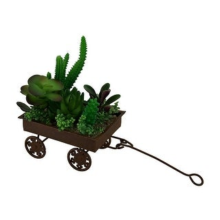 Artificial Mini Succulent Garden in Rustic Wagon Planter 7 Inch