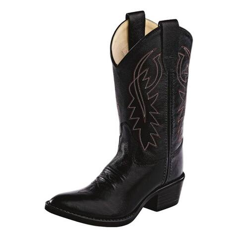 Old West Cowboy Boots Boys Narrow J Toe PVC Outsole Black