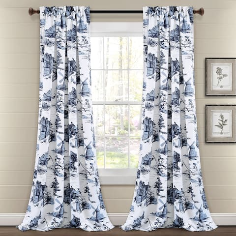 Lush Decor French Country Toile Room Darkening Window Curtain Panel Pair