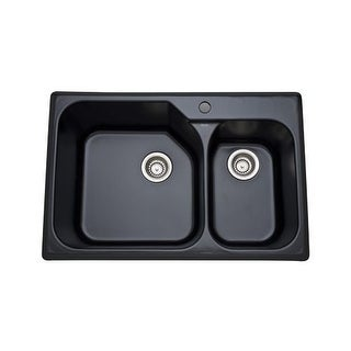 "Rohl 6317 33"" Allia Double Basin Drop In Fireclay Kitchen Sink with Single Fauce"