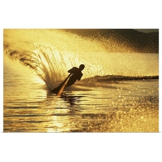 """Man waterskiing"" Poster Print"