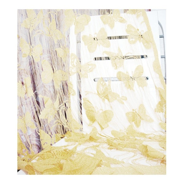 Butterfly Faille Drapery Door String Curtain Wedding - Beige