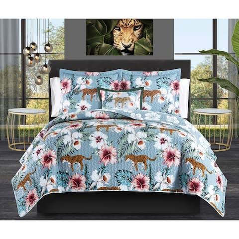 Chic Home Orietta 4 Piece Reversible Quilt Set Tropical Print