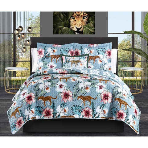 Chic Home Orietta 8 Piece Tropical Bed in a Bag Reversible Quilt Set