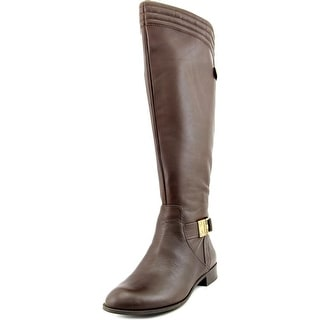 Anne Klein Kaydon Wide Calf Round Toe Leather Knee High Boot