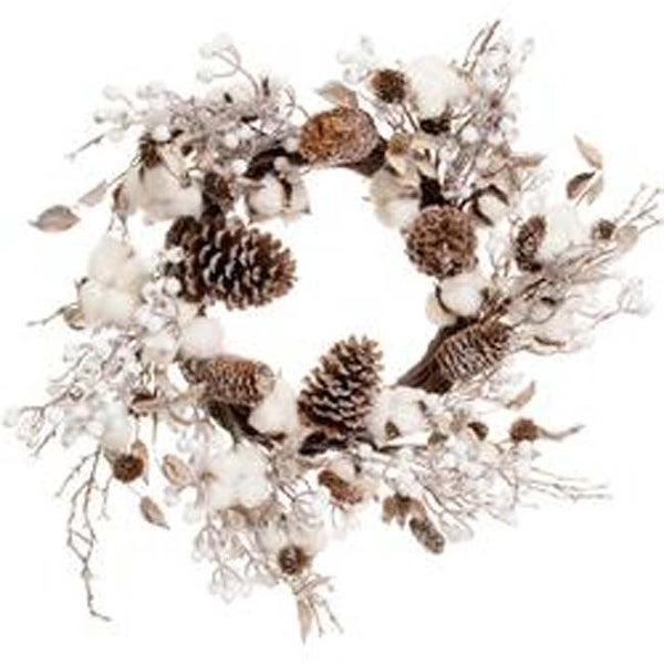 - Cotton & Cone Wreath 24""
