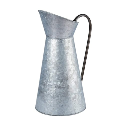 """Galvanized Vase - Silver Metal Vase Pitcher with Handle 12"""" Tall, Decor for Home"""