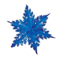 Club Pack of 12 Metallic Blue Winter Snowflake Hanging Christmas Decorations 24""