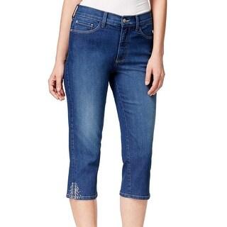 NYDJ NEW Blue Womens Size 10 Rhinestone Capri Stretch Denim Jeans