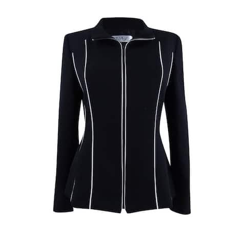 Kasper Women's Piped Zip-Front Jacket - Black/Vanilla Ice - 4
