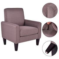 Costway Modern Accent Arm Chair Single Sofa Linen Wooden Leisure Living Room Furniture