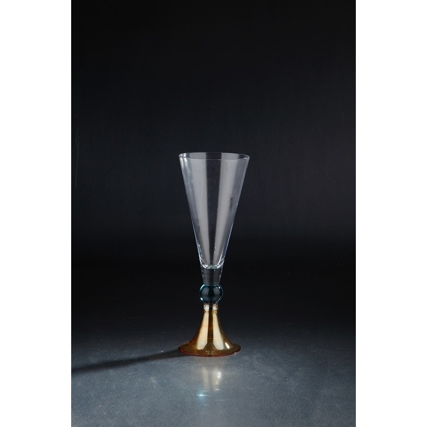 "13.5"" Clear Fluted Hand Blown Glass Vase with Orange and Blue Base - N/A"