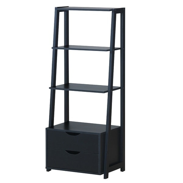 4-Tier Ladder Bookshelf Storage Display with 2 Drawers