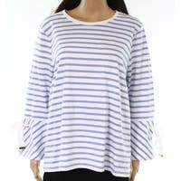 Lauren by Ralph Lauren Blue Women's Medium M Tie-Sleeve Stripe Top